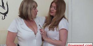 Big tit nurses Trisha and Lily slobbers the doctors black massive cock