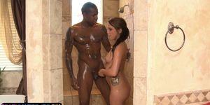 Teasing masseuse tugging black dick