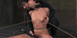 BDSM tied up sub gets suspended in air