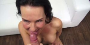Amateur Brunette Sucking Cock like a PRO