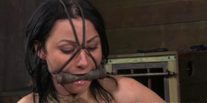 Mouthgagged nipple gagged sub in pain on the floor