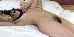 Sierra strips naked and enjoys her hairy body