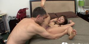 Beautiful Japanese bombshell spreads her legs for him