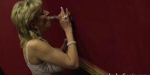Busty British mature Lady Sonia visits a gloryhole