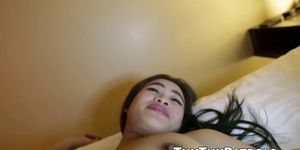 POV video of Thai teen with big natural tits riding a cock
