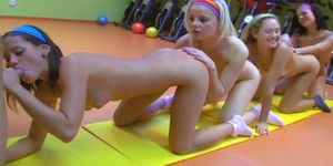 4 hot teen girls do aerobics together and suck cock