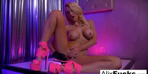 Sexy stripper Alix Lynx fingers her tight pussy