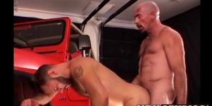 Older homo studs have anal drilling action in workplace
