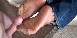 mature nylon footjob 2