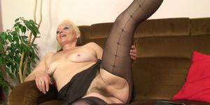 Old blonde mother in law rides his cheating cock