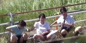 Skanky Japanese teenager pees in park