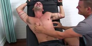 Bound Cesar shows off tattoos while tickled viciously