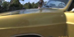 Petite sucette et strip sur le capot de la voiture