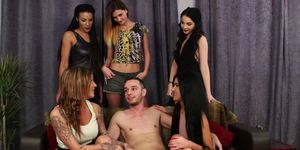 Gorgeous Euro babes enjoy group CFNM scene