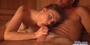 Teen Fucked in sauna room gives blowjob