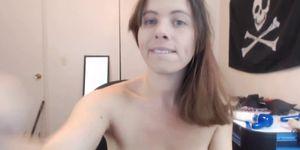 Busty brunette masturbating solo