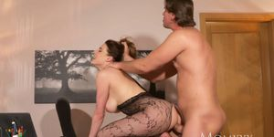 MOM Surprise office sex with wife in crotchless bodystocking and high heels