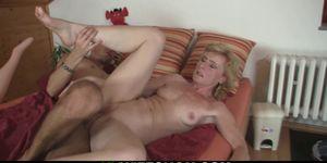 Older blonde mother inlaw helps horny guy cum