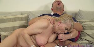 Blonde old lady blows big dick