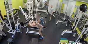 Redhead fucks a guy at the gym in front of boyfriends eyes