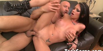 TEENGONZO Tiny Teen with big tits fucked deep on the couch