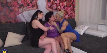 3 old and young lesbians playing with each other