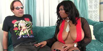 Big boobed black girl Ms Mirage loves big white cock