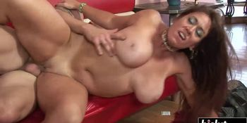Big load of dick pleases a brunette chick