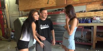 Tight brunette babe fucked by hard cock in car garage