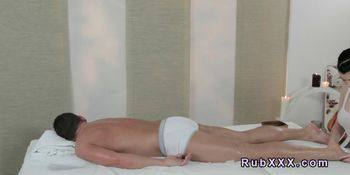 Busty masseuse rode hard cock