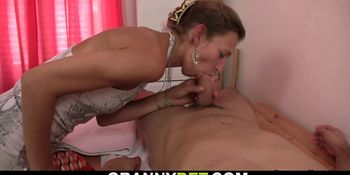 60 years old masseuse rides his cock