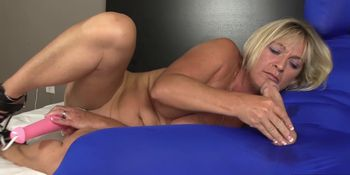 Dirty cock tugging slag masturbates