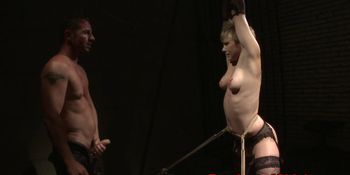 Tied sub gets anally fucked and jizzed on ass