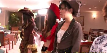 Japanese cosplay babe squirts after fingered