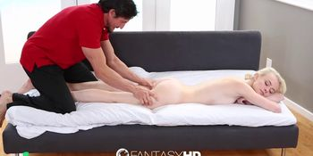 Little blonde Maddy Rose has sweaty workout sex