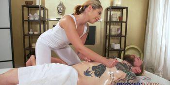 Massage Rooms Cute petite brunette sucks and fucks big hard cock