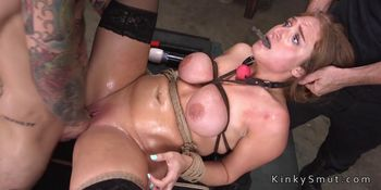 Natural busty slave in stockings fucked