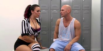 Brazzers - Big Tits In Uniform - Referee With Big Tits Fucks Player scene starring Emily Parker and Johnny Sins