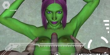 3D Alien has her tits and pussy fucked hard from POV