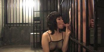 Slutty brunette in fishnet bodystocking Kana Mimura is sucking cock