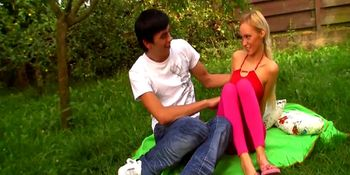 First anal fuck for blonde teen girl in garden