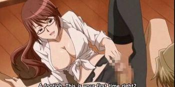 Busty hentai wife licking hard cock