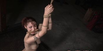 Redhead sub whore tormented by male dom