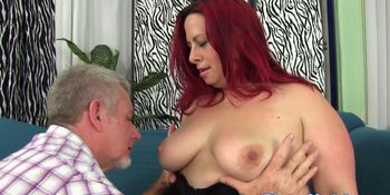 Redhead fatty doggy styled by hard dick