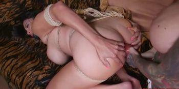 Busty Babes Enjoy Bondage Anal With Strap On