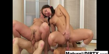 Young brunette babe joins granny for a foursome