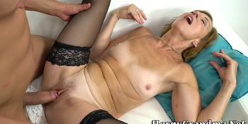 Granny in stockings rides