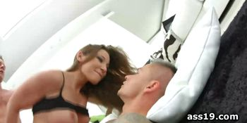 Julie Skyhigh gets both fuck holes smashed in 3some