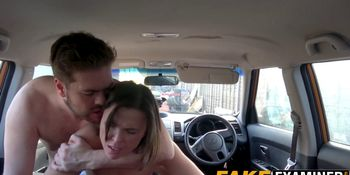 Delicious Brit with big naturals hammered at driving test