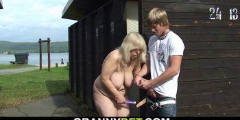 Smart guy fucks old blonde granny on public